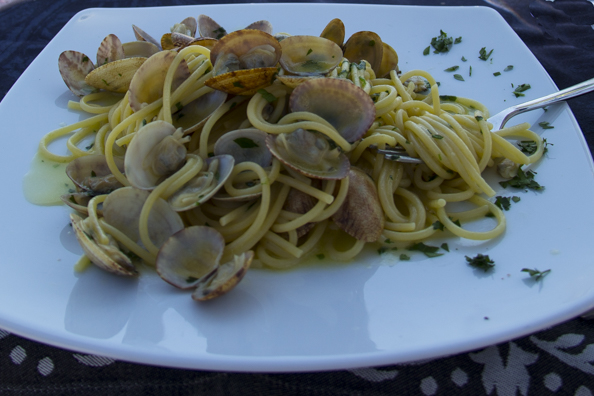 Spaghetti alle vongole in Salerno on the Amalfi Coast