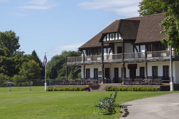 Clubhouse at the cricket ground of Winchester College