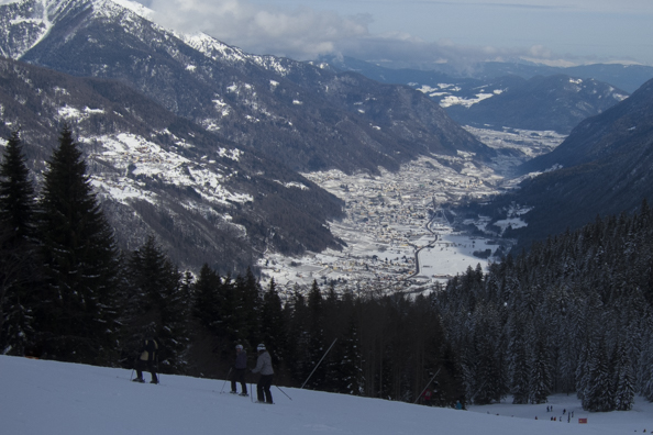 View from Pinzolo ski area above the town of Madonna di Campiglio in the Dolomites