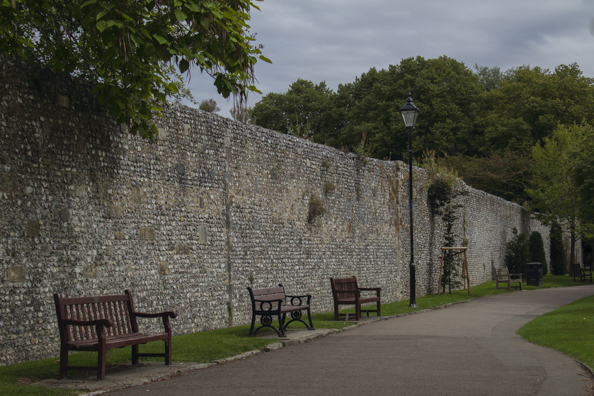Medieval city walls in Winchester