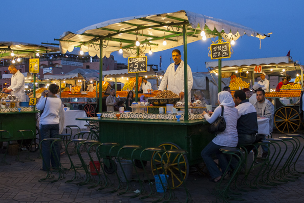 Evening market in Jemaa el Fna in Marrakech, Morocco
