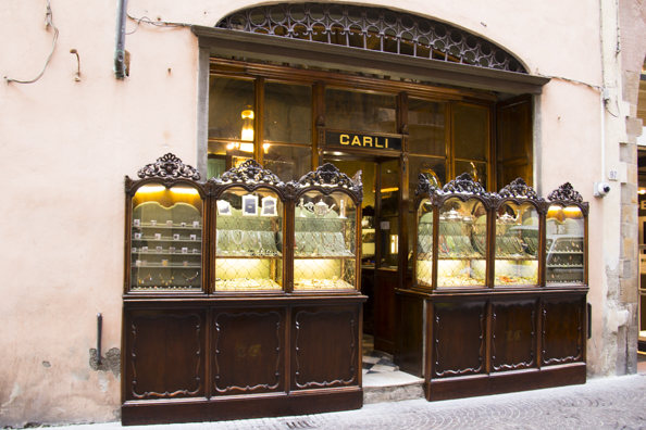 A jewellers on the shopping street Via Fillungo in Lucca, Tuscay in Italy