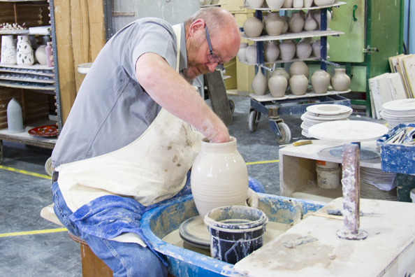 A potter at work in the Poole Pottery in Poole-8111