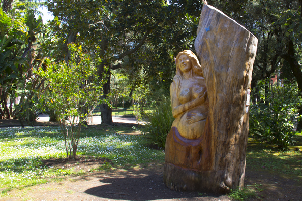 A sculpture in wood in Villa Comunale in Salerno Italy