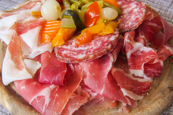 A selection of hams from Trentino in Italy