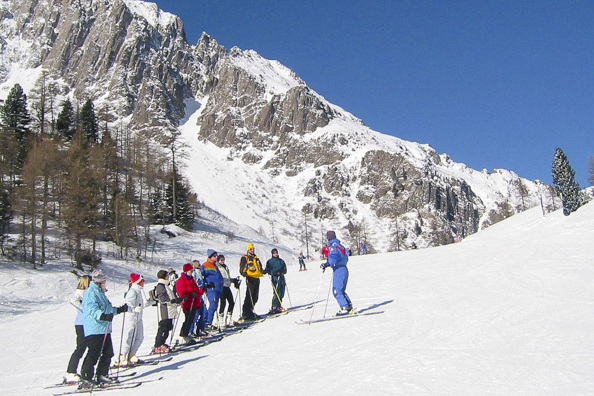 A ski lesson in San Martino di Castrozza in the Italian Dolomites