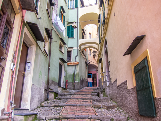 A typical street in La Pigna, Sanremo, Liguria in Italy