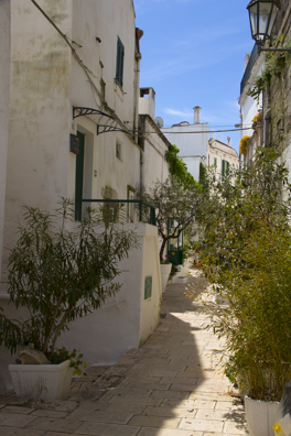 A typical street in the old town of Ostuni, Puglia, Italy