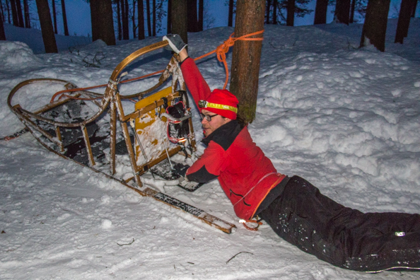 Aki Demonstrating How Not to Lose Your Husky Sledge, Kuhmo, Finland