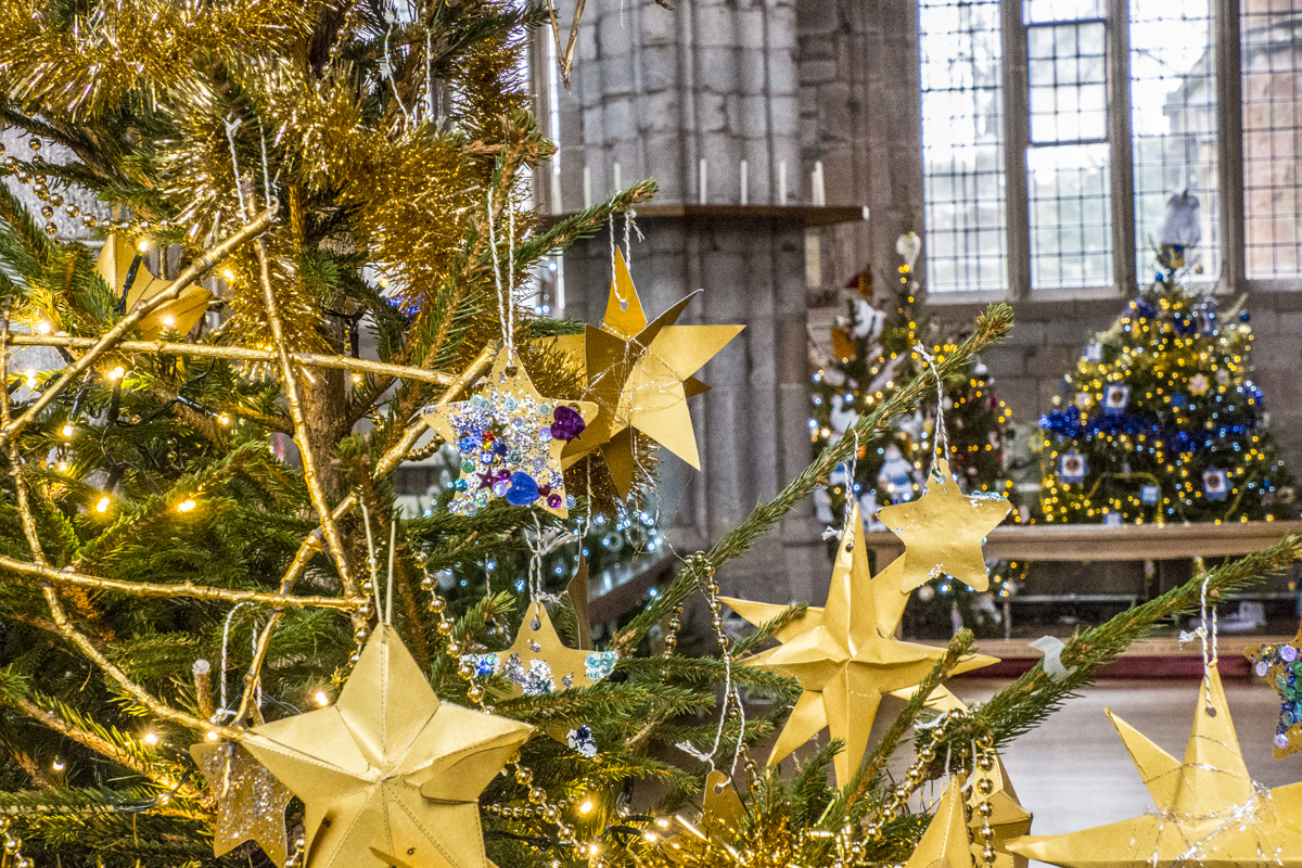 Annual Christmas Tree Festival in the Church of the Holy Cross in Crediton, Devon 050087