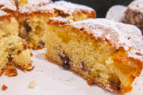 Apple cake with sultanas from Trentino in Italy