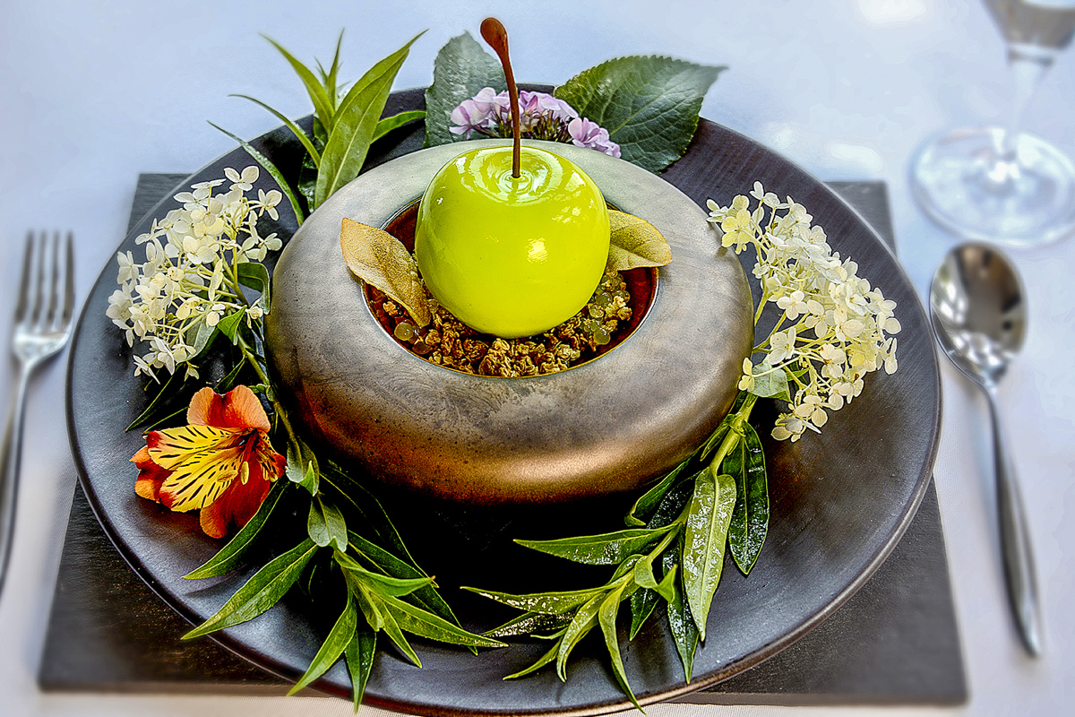 Apple Dessert in the Tasting Menu at Paschoe House near Crediton, Devon