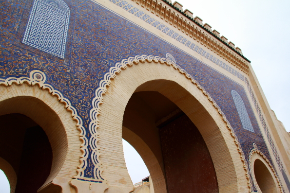 Bab Bouijloud or blue gate at the entrance to the medina in Fez Morocco
