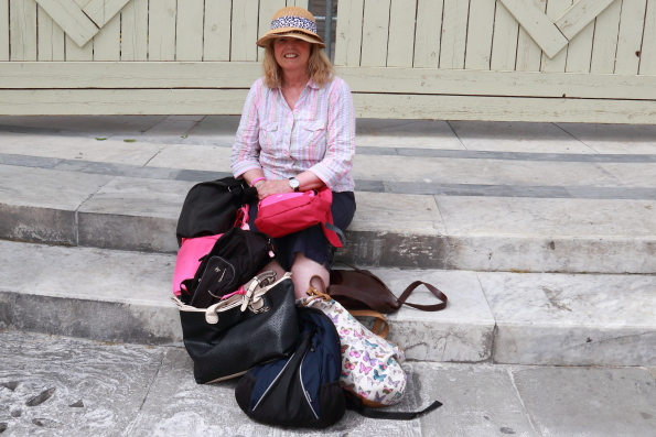 bag lady at the Leaning Tower of Pisa IMG_9366