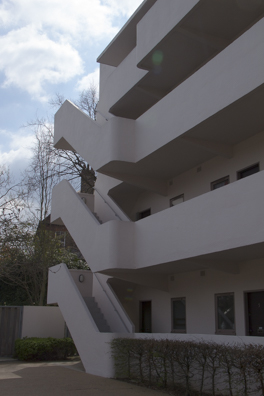 Balconies of the Isokon Building in Hampstead London