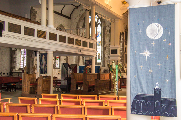 Banner inside the Church of St Thomas in Lymington, New Forest, Hampshire, UK