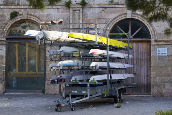 Boathouse of Monopoli's rowing club in  Monopoli in Puglia, Italy - -8848