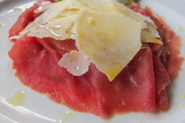 Bresaola or air-dried beef from Trentino in Italy
