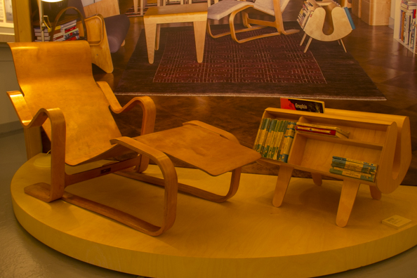 Breuer's Long Chair and Riss's Penguin Donkey on display at the Isokon Gallery Hampstead London