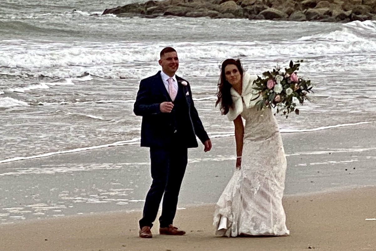 Bride and Groom on Sandbanks Beach in Dorset