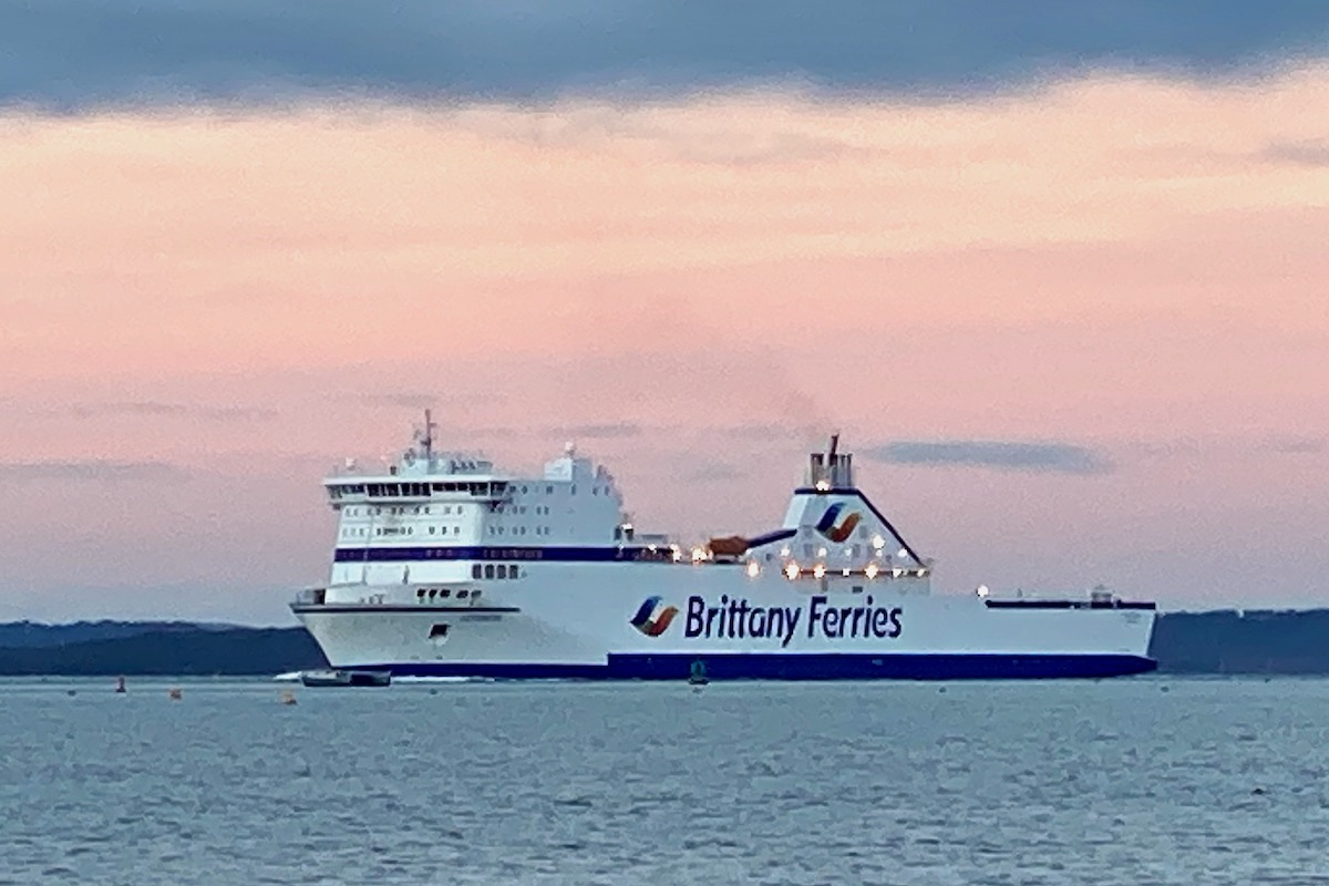 Brittany Freight Ferry Cotentin Leaves Poole Harbour in Dorset