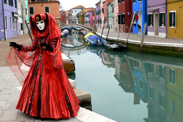 Posing on the island of Burano, Venice