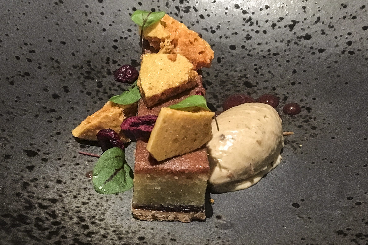 Cherry Franigpane, honeycomb and hot cross bun ice cream in Blas Restaurant at Twr y Felin Hotel, St David's in Pembrokeshire, Wales    6041
