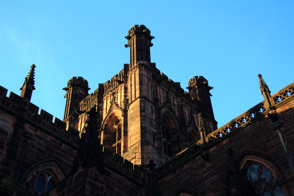 The bell tower of Chester Cathedral