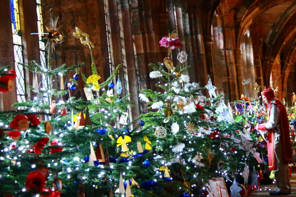 Christmas trees in the cloisters of Chester Cathedral