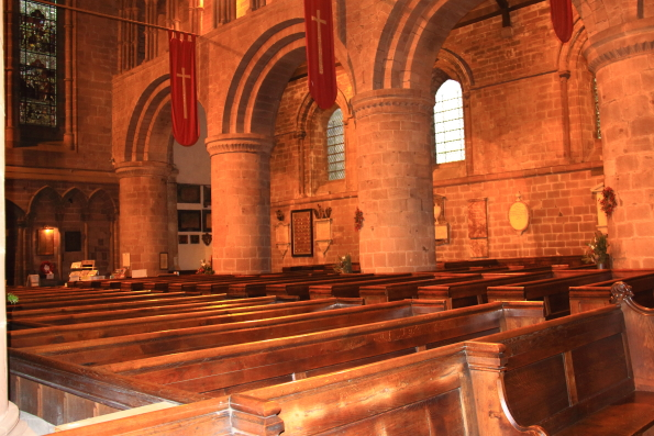 The interior of the church of St John the Baptist in Chester