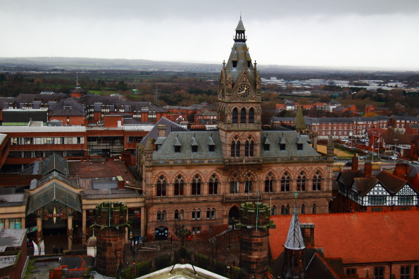 Chester Town Hall from the top of the bell tower of Chester Cathedral