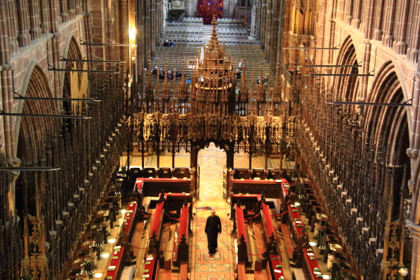 The choir stalls in Chester Cathedral