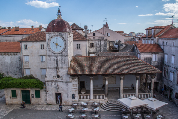Church of St Sebastian with the city clock tower and the city loggia in Trogir, Croatia