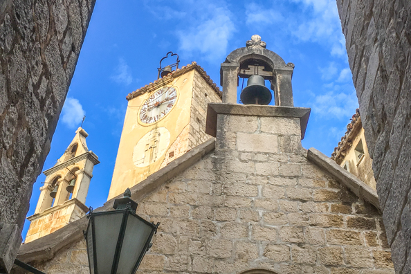 Clock Tower, the Church of Saint Rocco and the Church of the Holy Spirit and Bell Tower in Omis in the Dalmatian region of Croatia