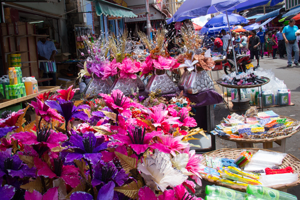 Colourful stalls in the street market outside the Central Market in Port Louis on Mauritius