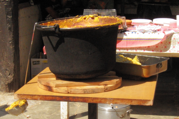 The paiolo that is used to make polenta