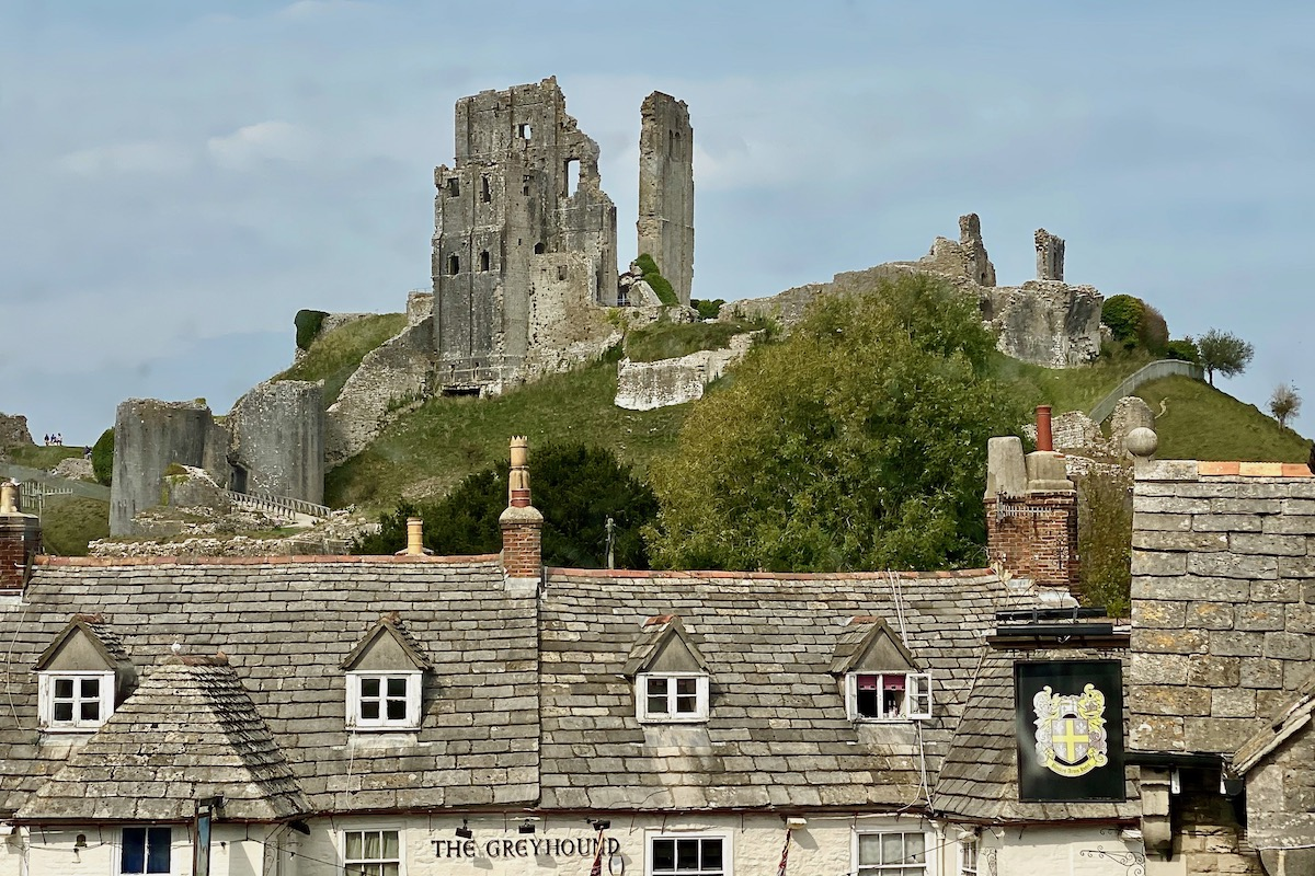 Corfe Castle above Corfe Castle Village in Dorset