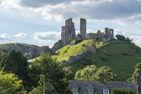 Corfe Castle from the train on the Wareham to Swanage line in Dorset