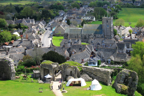 Corfe Castle Village from the ruins of Corfe Castle in Dorset