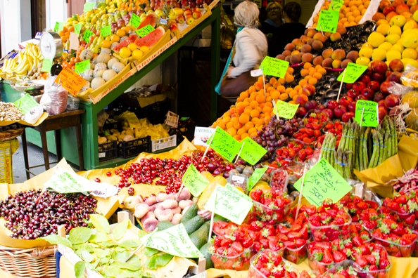 Daily fruit, vegetable and flower market  in Pistoia, Tuscany