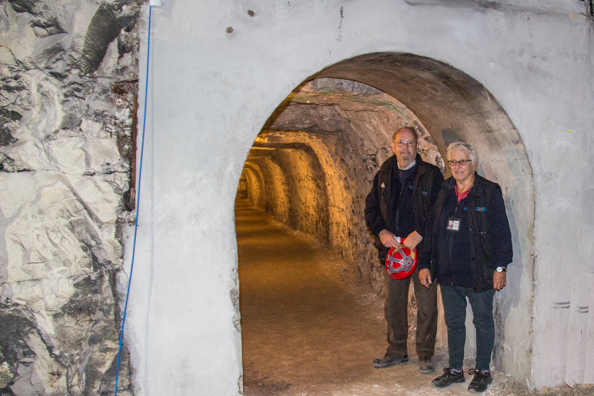 Dave and Gill, guides in the tunnels in Ramsgate, Kent