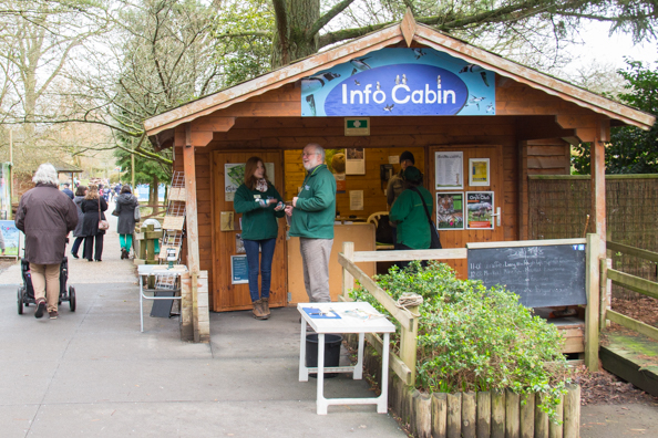 David and Victoria greeting visitors at the Info Cabin at Marwell Zoo in Hampshire