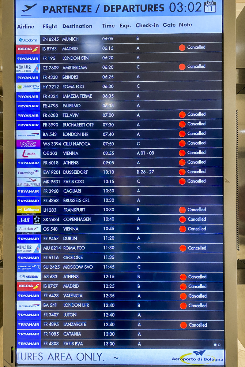 Departures Board at Bologna Airport in Italy 4494