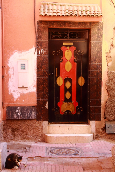 A decorated door in a souk in Marrakech