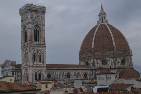 Duomo and Campanile from the roof of Rinascente in Florence, Tuscany, Italy