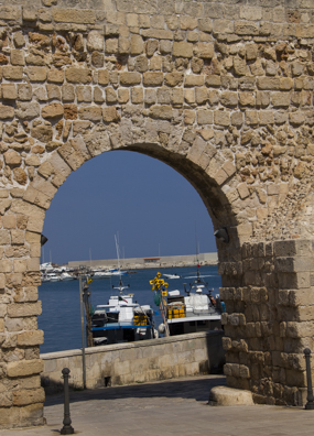 Entrance from Charles v Castle to the odl port of Monopli in Puglia, Italy