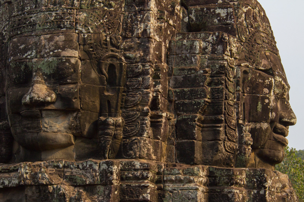 Faces on a tower at the Bayon temple at Angkor Thom, Siem Reap,   Cambodia