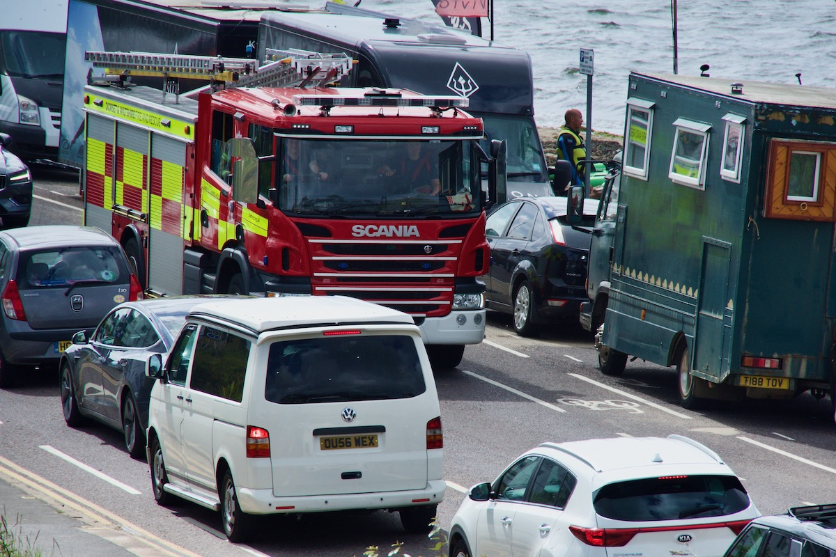 Fire Engins Battling Through Traffic in Sandbanks, Dorset