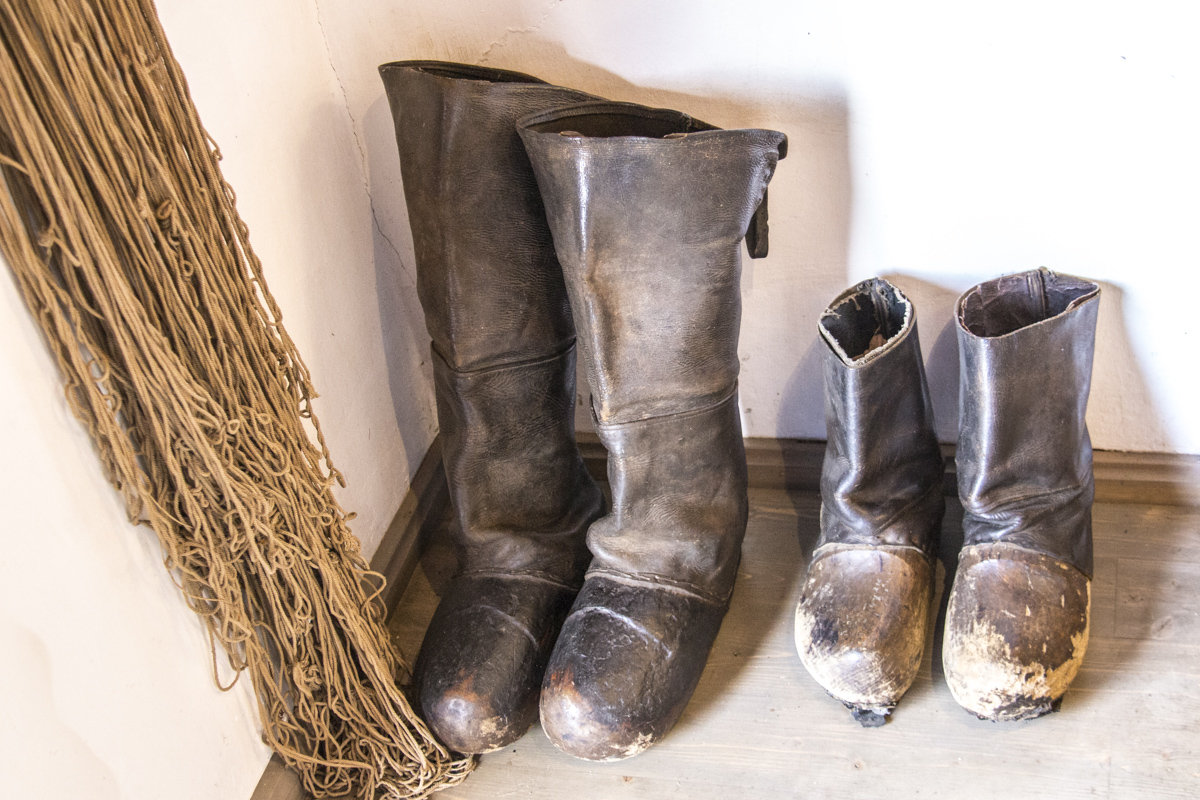 Fisherman's boots in the Fisherman's Ethnographic Farmstead in Nida, Lithuania   0050