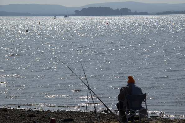 Fishing in Parkstone Bay on Poole Harbour